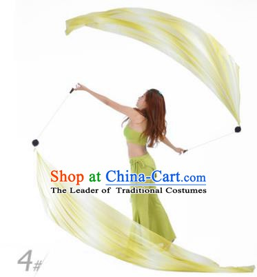 Indian Belly Dance Props India Raks Sharki Accessories Gradient Yellow Ribbons for Women