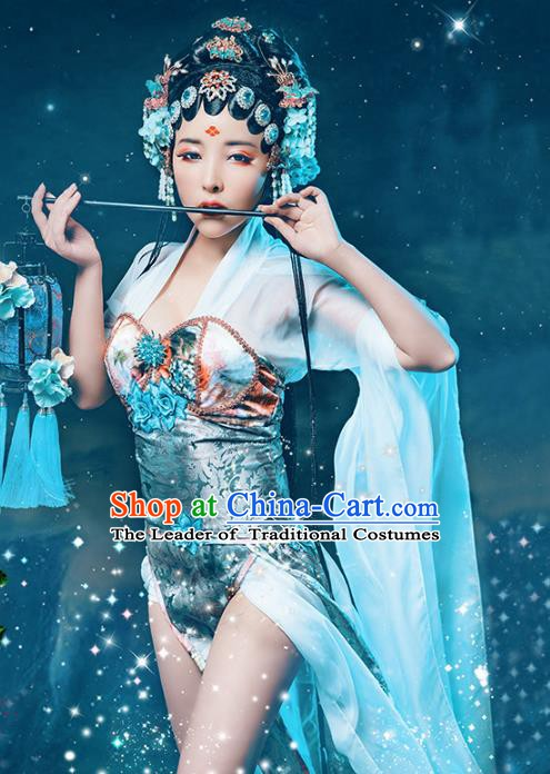 Asian Chinese Beijing Opera Costume, China Traditional Peking Opera Actress Sexy Clothing for Women