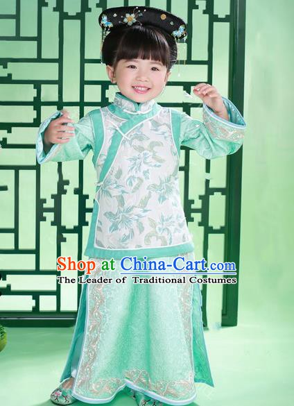 Traditional Chinese Qing Dynasty Princess Manchu Nobility Lady Costume for Kids