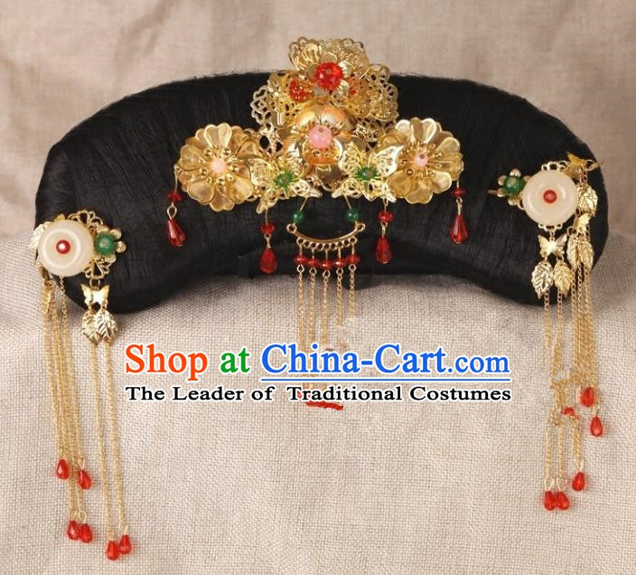 Chinese Handmade Classical Qing Dynasty Hair Accessories Ancient Manchu Princess Headwear Hairpins for Women