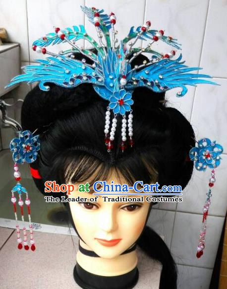 Traditional Handmade Chinese Beijing Opera Hair Accessories Princess Blue Phoenix Coronet Hairpins for Women