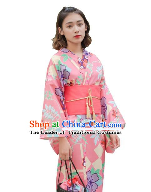 Asian Japanese Traditional Costumes Japan Kimono Yukata Pink Dress Clothing for Women