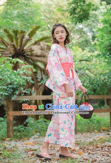Asian Japanese Traditional Costumes Japan Kimono Yukata Printing Dress Clothing for Women