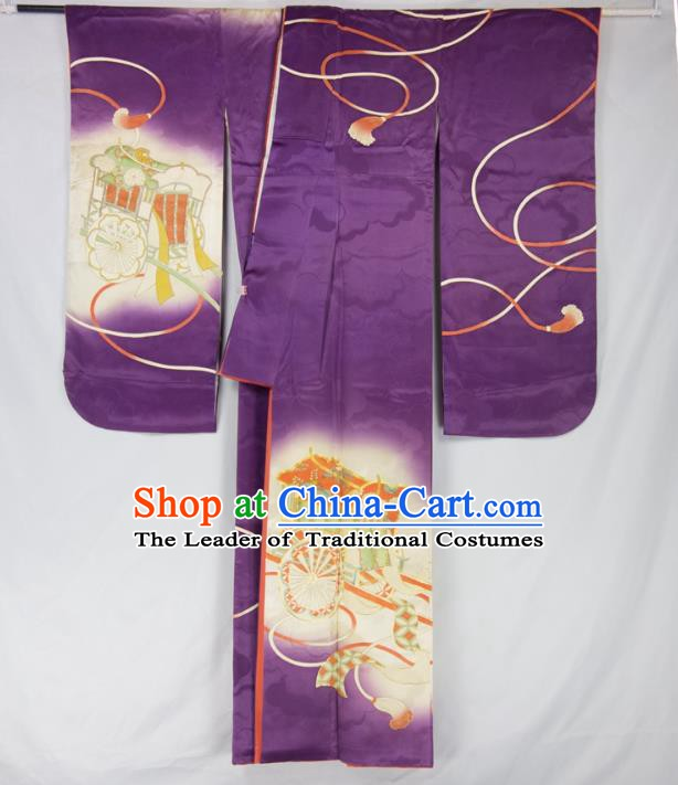 Asian Japanese Traditional Costumes Japan Furisode Kimono Yukata Purple Dress Clothing for Women