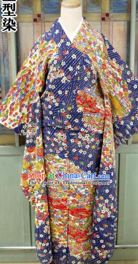 Asian Japanese Traditional Costumes Japan Furisode Kimono Yukata Printing Dress Clothing for Women