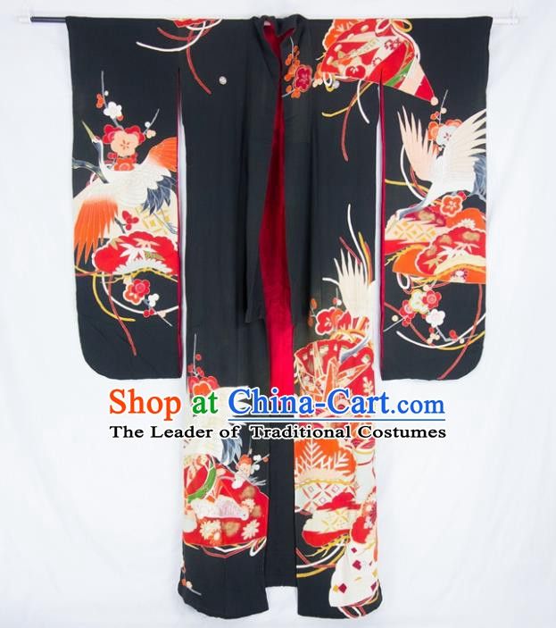 Asian Japanese Traditional Costumes Japan Furisode Kimono Yukata Embroidered Crane Black Dress Clothing for Women