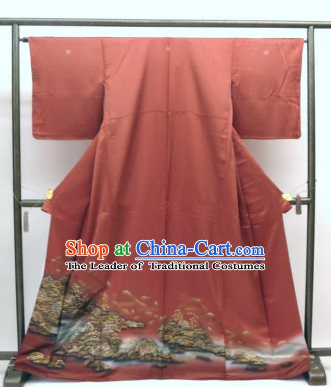 Asian Japanese Traditional Costumes Japan Printing Silk Furisode Kimono Yukata Dress Clothing for Women