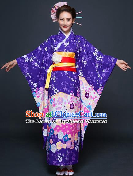 Asian Japanese Traditional Costumes Japan Printing Purple Furisode Kimono Yukata Dress Clothing for Women