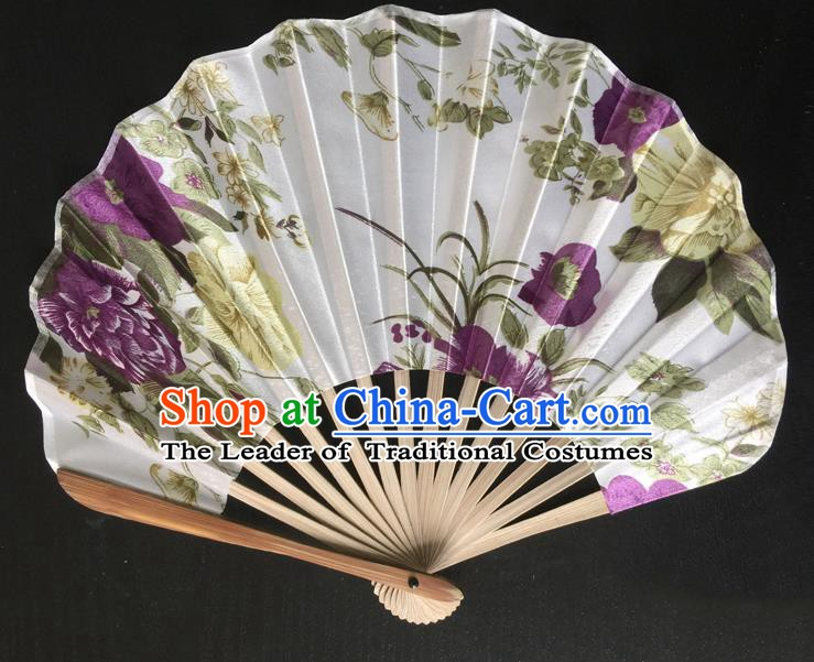 Asian Traditional Folding Fans Kimono Printing White Satin Fans Dance Fan for Women