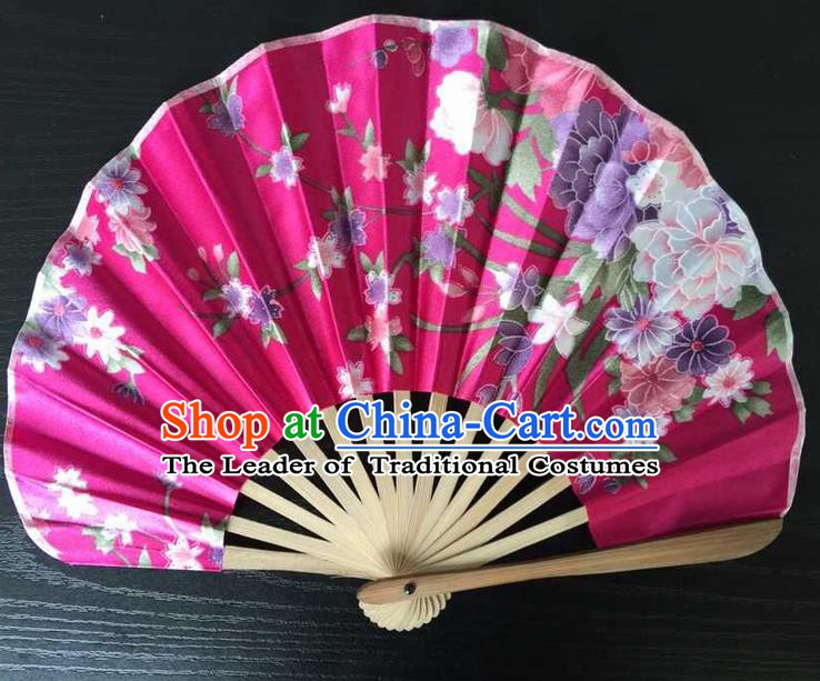 Asian Traditional Folding Fans Kimono Printing Flowers Rosy Satin Fans Dance Fan for Women