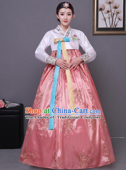 Asian Korean Dance Costumes Traditional Korean Hanbok Clothing White Blouse and Pink Paillette Dress for Women
