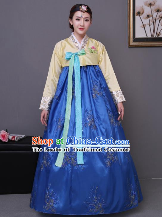 Asian Korean Dance Costumes Traditional Korean Hanbok Clothing Yellow Blouse and Blue Paillette Dress for Women