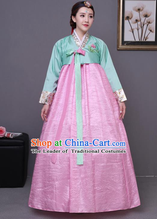 Asian Korean Dance Costumes Traditional Korean Hanbok Clothing Wedding Green Blouse and Pink Dress for Women