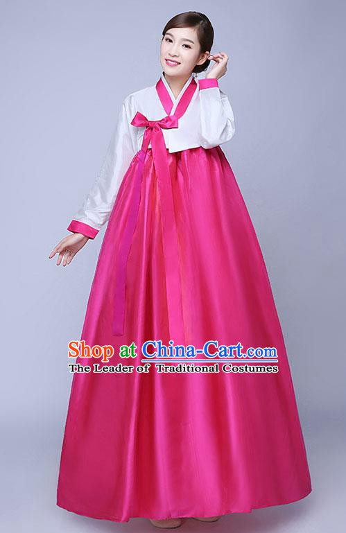 Asian Korean Dance Costumes Traditional Korean Hanbok Clothing Wedding White Blouse and Rosy Dress for Women