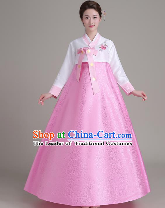 Asian Korean Court Costumes Traditional Korean Hanbok Clothing White Blouse and Pink Dress for Women