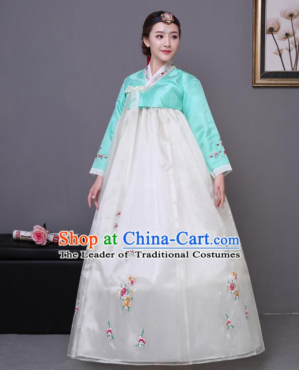 Asian Korean Court Costumes Traditional Korean Bride Hanbok Clothing Green Blouse and White Dress for Women