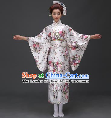 Asian Japanese Traditional Costumes Japan Printing Flowers White Satin Furisode Kimono Yukata Dress Clothing for Women