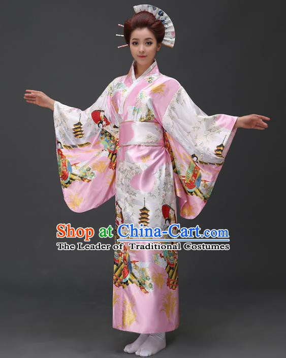 Asian Japanese Traditional Costumes Japan Printing Pink Satin Furisode Kimono Yukata Dress Clothing for Women