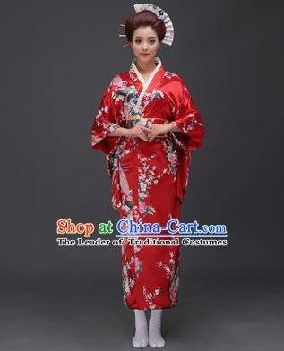 Asian Japanese Traditional Costumes Japan Printing Flowers Red Satin Furisode Kimono Yukata Dress Clothing for Women