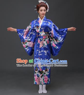 Asian Japanese Traditional Costumes Japan Printing Peacock Peony Blue Satin Furisode Kimono Yukata Dress Clothing for Women