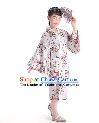 Asian Japanese Traditional Costumes Japan Printing Satin Furisode Kimono Yukata White Dress Clothing for Kids
