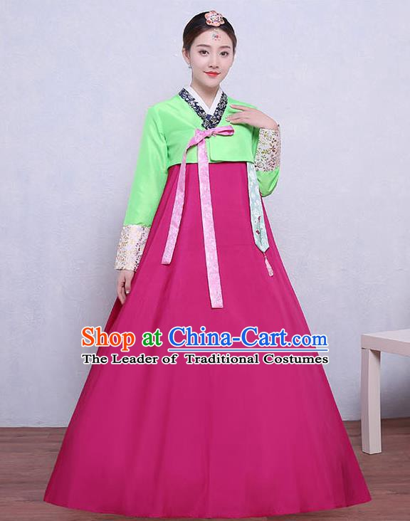 Asian Korean Dance Costumes Traditional Korean Dress Hanbok Clothing Green Blouse and Rosy Skirt for Women