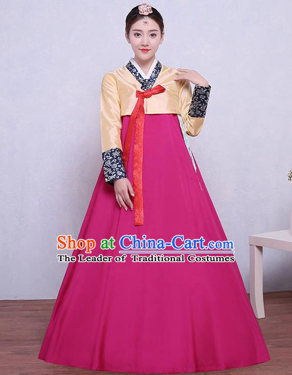 Asian Korean Dance Costumes Traditional Korean Dress Hanbok Clothing Yellow Blouse and Rosy Skirt for Women