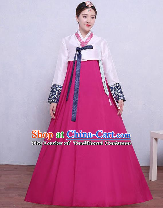 Asian Korean Dance Costumes Traditional Korean Hanbok Clothing White Blouse and Rosy Dress for Women
