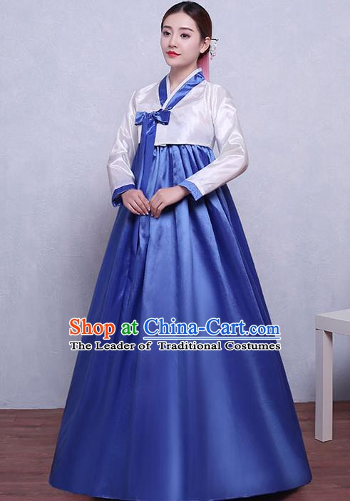 Asian Korean Dance Costumes Traditional Korean Hanbok Clothing White Blouse and Blue Dress for Women
