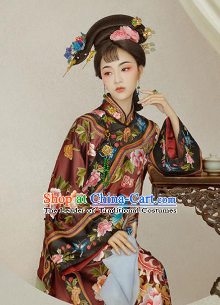 Chinese Traditional Qing Dynasty Imperial Concubine Costume, Ancient Manchu Lady Embroidered Clothing for Women