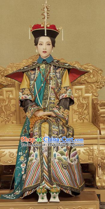 Chinese Traditional Qing Dynasty Empress Costume, Ancient Manchu Palace Queen Embroidered Clothing for Women