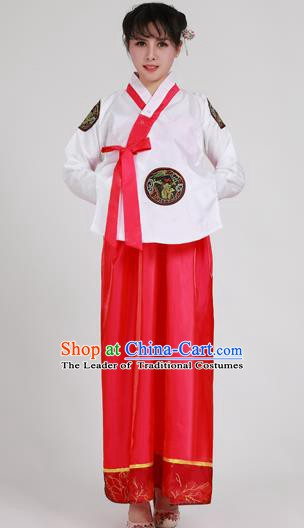 Asian Korean Palace Costumes Traditional Korean Bride Hanbok Clothing White Blouse and Red Dress for Women