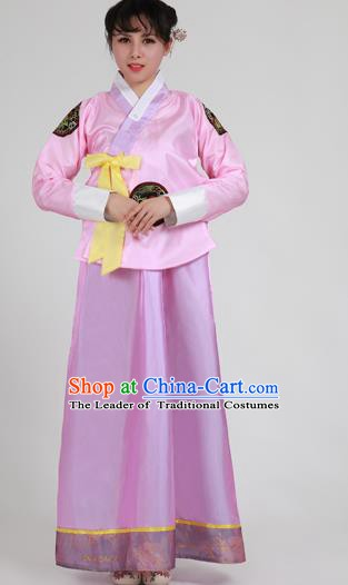Asian Korean Palace Costumes Traditional Korean Bride Hanbok Clothing Pink Blouse and Purple Dress for Women