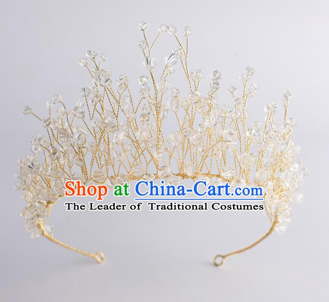 Handmade Classical Wedding Hair Accessories Bride Baroque Royal Crown Crystal Hair Clasp for Women