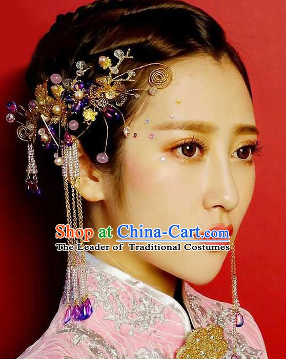 Chinese Handmade Classical Wedding Hair Accessories Ancient Tassel Hairpins and Earrings for Women