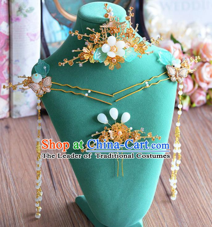 Chinese Handmade Classical Wedding Hair Accessories Ancient Tassel Hairpins Step Shake for Women