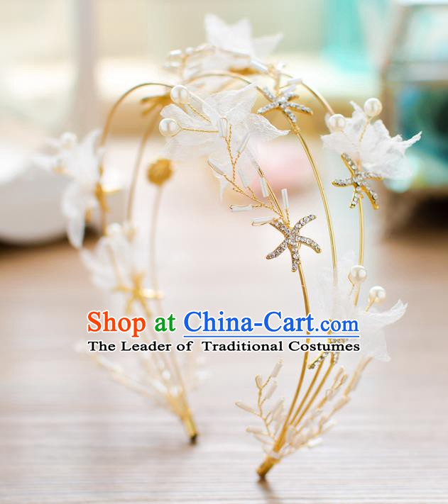 Handmade Classical Wedding Hair Accessories Bride Crystal Hair Clasp Golden Headband for Women
