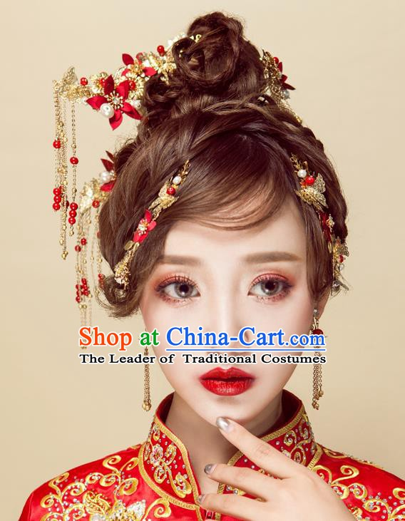 Chinese Handmade Classical Wedding Hair Accessories Ancient Xiuhe Suits Red Flowers Hair Combs Hairpins for Women