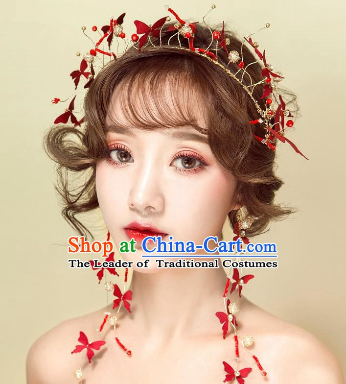 Handmade Classical Wedding Hair Accessories Bride Red Butterfly Hair Clasp Headband for Women