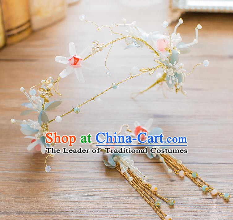 Handmade Classical Wedding Accessories Bride Flowers Hair Clasp and Tassel Earrings for Women