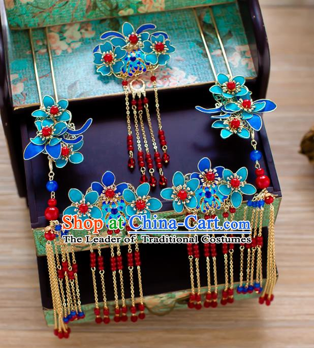 Chinese Handmade Classical Wedding Hair Accessories Ancient Cloisonne Tassel Hairpins Headdress for Women
