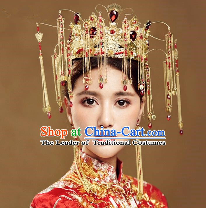 Chinese Handmade Classical Wedding Hair Accessories Ancient Tassel Phoenix Coronet Hairpins Headdress for Women