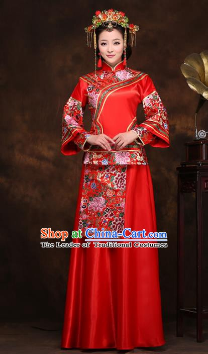 Traditional Chinese Wedding Costume Xiuhe Suits, China Ancient Bride Embroidered Clothing