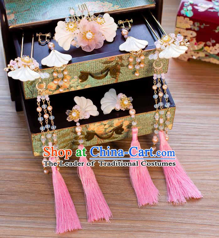 Chinese Handmade Classical Wedding Hair Accessories Ancient Tassel Hairpins Shell Hair Comb for Women