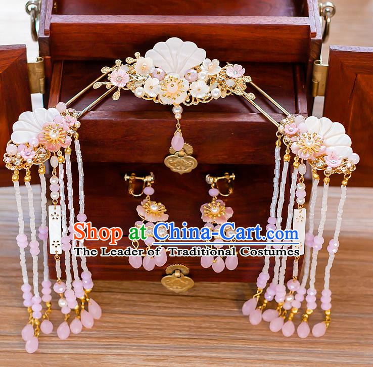 Chinese Handmade Classical Wedding Hair Accessories Ancient Pink Tassel Hairpins Step Shake for Women