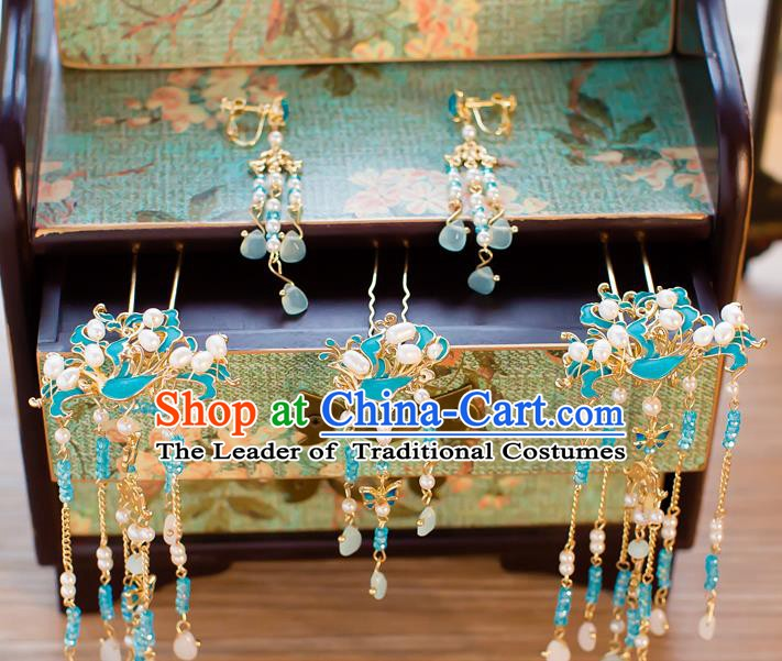 Chinese Handmade Classical Wedding Hair Accessories Ancient Blue Tassel Hairpins Step Shake for Women