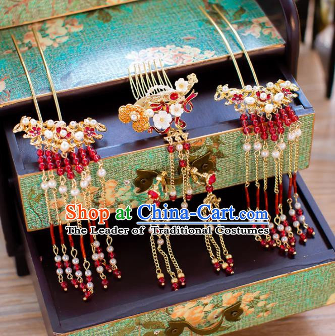 Chinese Handmade Classical Wedding Hair Accessories Ancient Hair Comb Tassel Hairpins for Women
