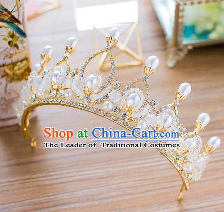 Handmade Classical Wedding Hair Accessories Bride Baroque Pearls Crystal Royal Crown Hair Clasp for Women