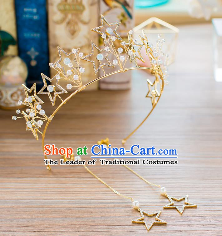 Handmade Classical Wedding Hair Accessories Bride Baroque Crystal Stars Royal Crown Hair Clasp for Women