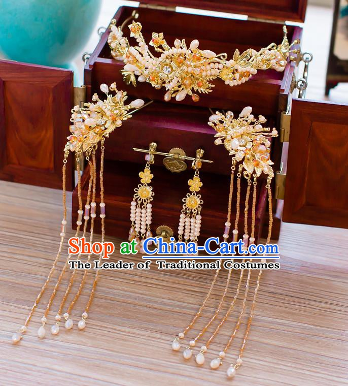 Chinese Handmade Classical Hair Accessories Ancient Palace Pearls Tassel Phoenix Coronet Hairpins for Women